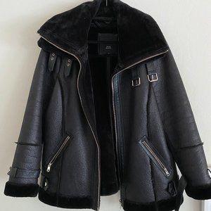 River Island Faux Leather + Fur Aviator Jacket